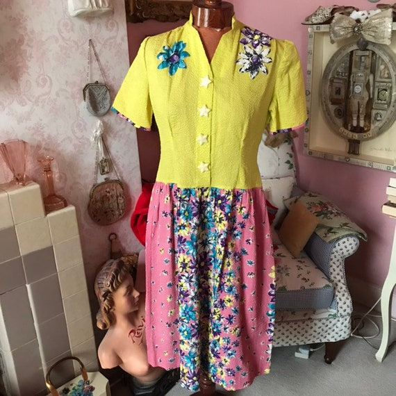 1940s Seersucker Yellow and pink floral dress with