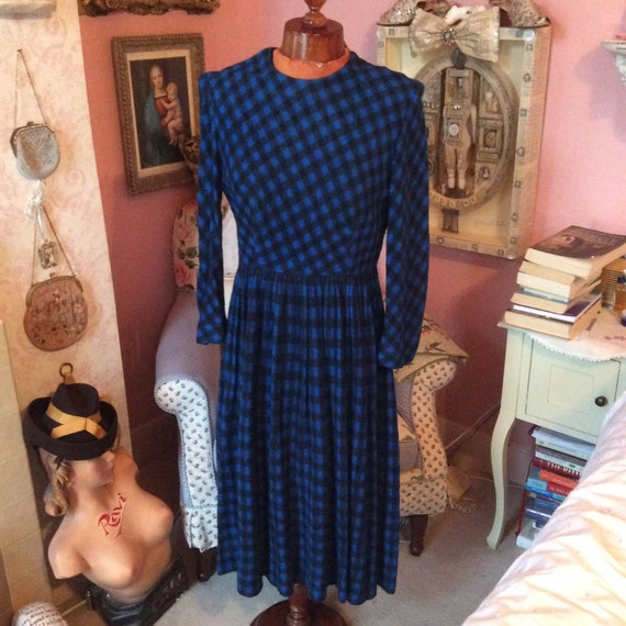1950s felt royal blue houndstooth check dress