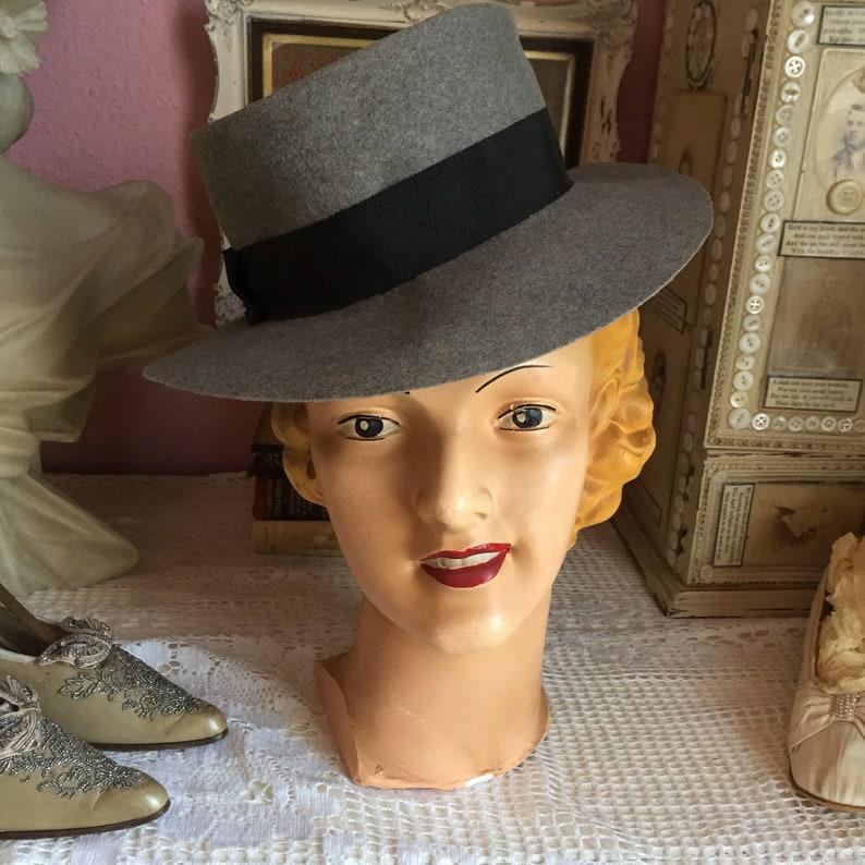 204ce5f3a 1940s grey wool felt fedora trilby hat