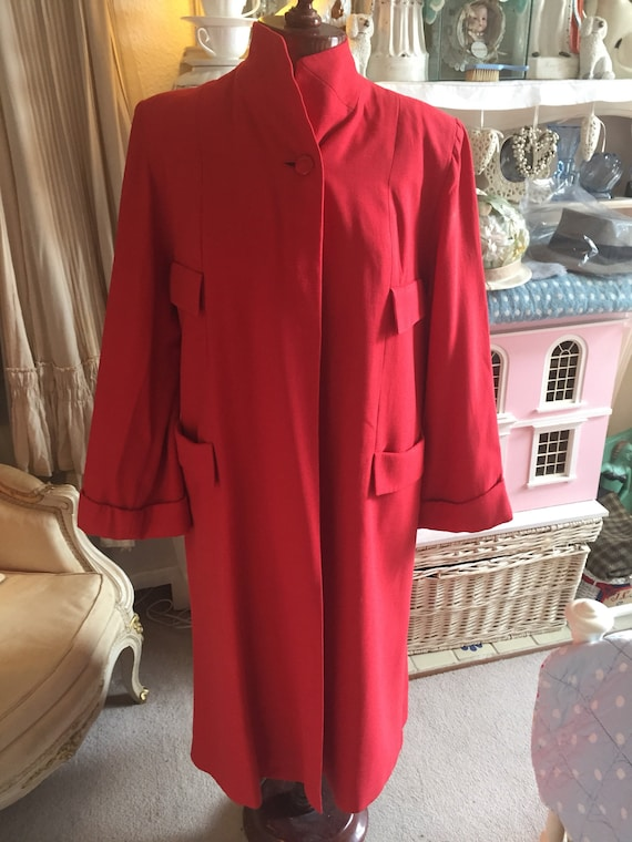 1940s red wool Rothmoor swing coat.  M