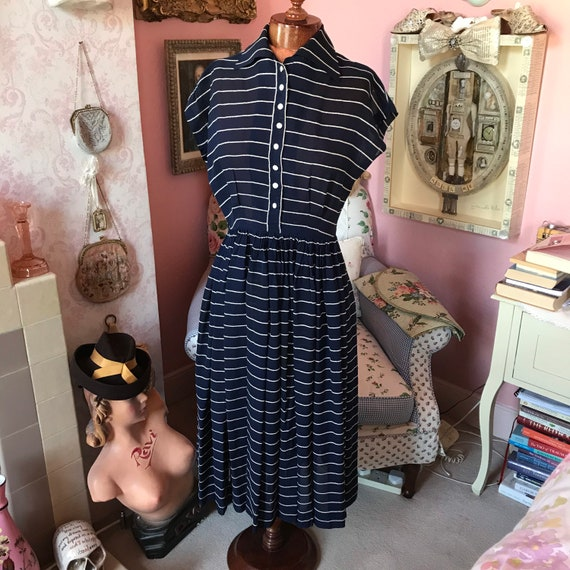 1940s navy and white striped dress. W28""