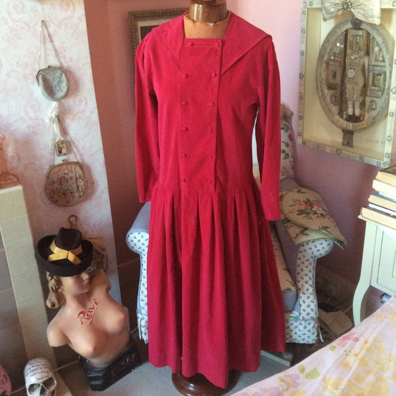 1980s magenta red Laura Ashley 1920s style needlec