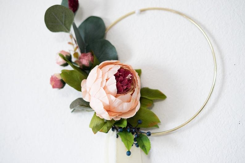 bridesmaid hoop bouquet flower girl basket alternative Wedding hoop Bouquet Bridesmaid Peony bouquet