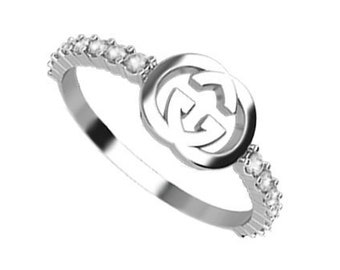 22e690829189d6 Designer Inspired by GUCCI Ring G Initial Ring Letter Ring Stacking Promise  Ring for Her Interlocking Engagement Ring CZ Silver Ring Women