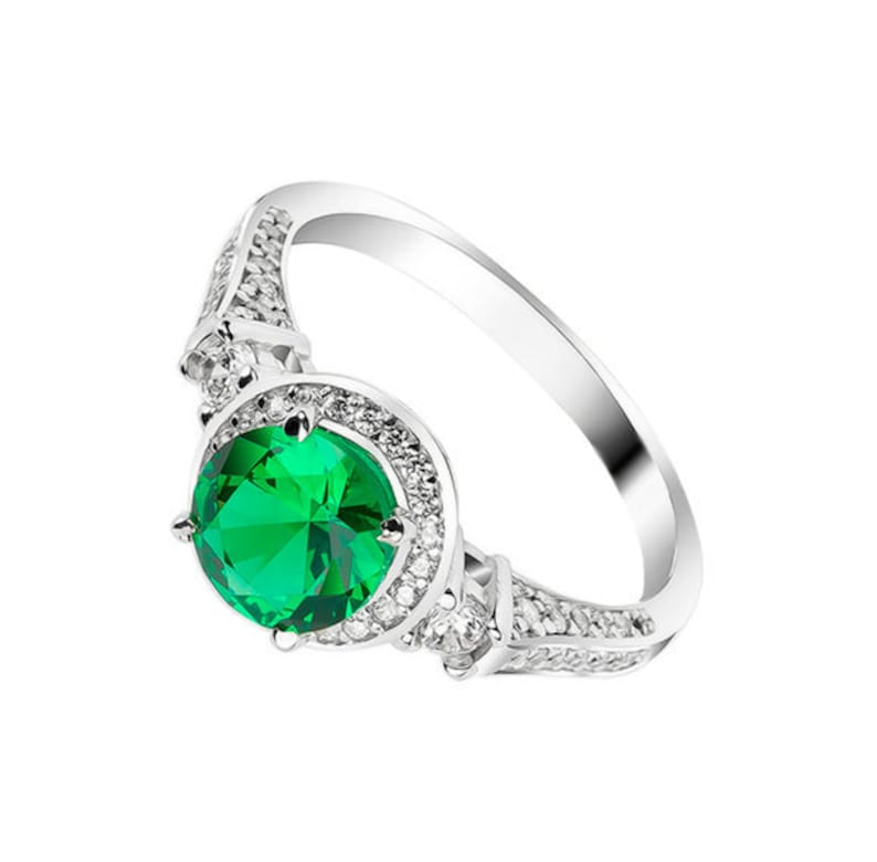 7cb608c0d6980 Antique Ring Emerald Ring Halo Ring Emerald Engagement Ring Promise Ring  for Her Green Stone Ring Emerald Wedding Ring May Birthstone Ring