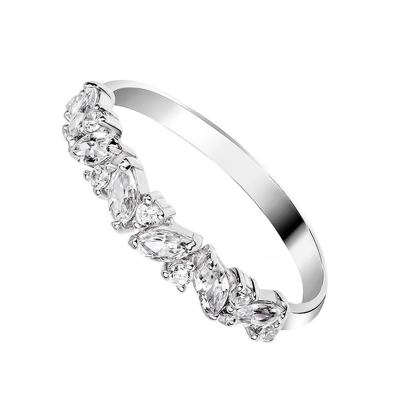 Stacking Wedding Band Women CZ Promise Ring for Her Thin Engagement Ring Wedding Ring Silver Dainty Ring Delicate Ring Cubic Zirconia Ring