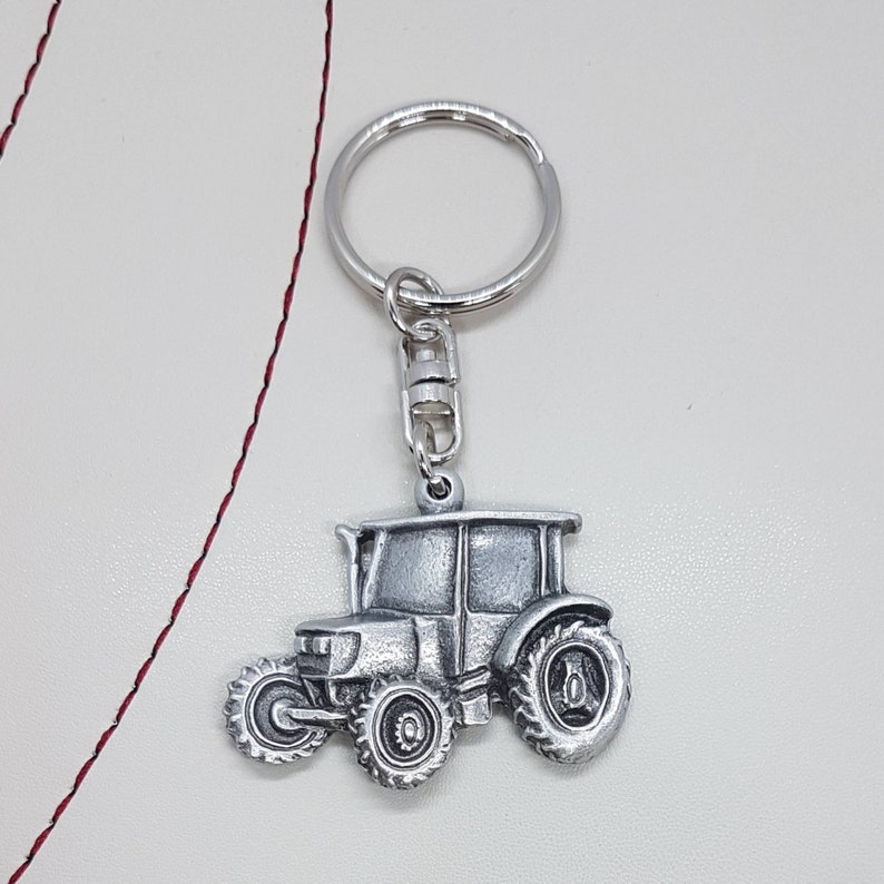 Handcrafted in the UK. Pewter tractor keyring keychain