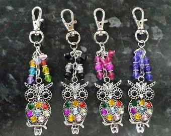 Owl bird bag charm, keyring. Gift present, choose your colour beads, teachers gift, gift for her