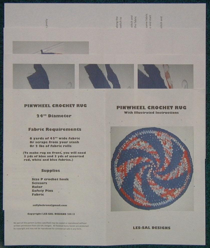 Pinwheel Spiral Crochet Rag Rug Pattern Or Digital Free Etsy