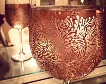 Custom Hand Painted Wine Glasses (Set of 2) wedding, birthday, gift ideas, wine, celebration, graduation, anniversary, freehand