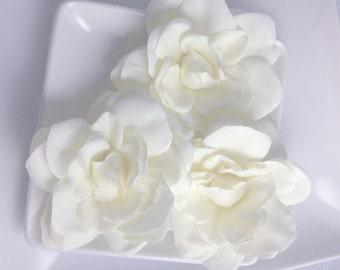 Silk hair flower etsy set real touch light ivory cream silk gardenia bridal hair flower clip and pin faux floral accessory bridal sash or belt mightylinksfo