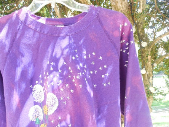 One of a kind large cropped bleached faded womens Purple Dandelion Graphic sweatshirt destroyed cut off crop top streetwear tumblr Aesthetic