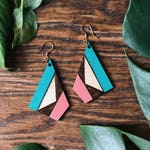 Coral and Teal Geometric Woodburned Pine Earrings