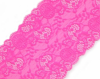 e6dd7559fd4f2 Hot pink lace Bra making Elastic stretch lace trim neon pink VS pattern  lingerie lace width 7.28