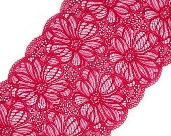 Stretch Lace, dark pink color floral pattern lace, elastic lingerie lace, wide lace width 7.48 inch, lace 19 cm lace per meter, Nr 2382