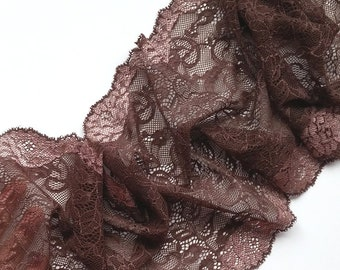 Elastic lace trim Brown stretch lace Lingerie lace fabric Bra headband gloves making Lace width 8.26 inch / 21 cm, Lace per meter # 4155B