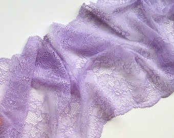 Lilac stretch lace trim Floral wedding elastic lace trimming Bra making Hobby sewing lace fabric Lingerie lace per meter # 2582