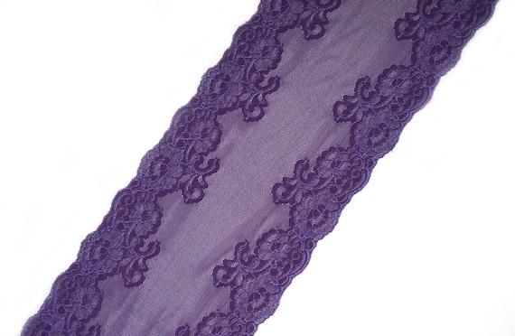 664bcc10eb Wide Stretch Lace Trim Violet Purple Floral Elastic Lace