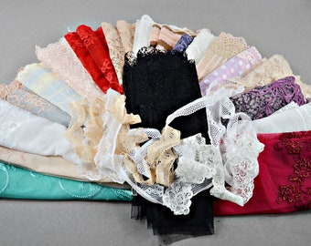 Lace offcuts Assorted lace scraps Doll dress sewing Stretch lace trim lot Stretch lace lengths Lace lot Lace pieces Scrap pack, 1/430