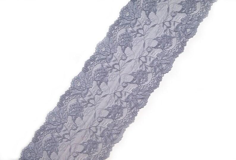 46520ebc00 Gray blue floral elastic wide lace Scalloped stretch lace trim