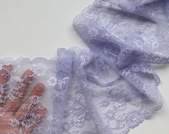 Lilac stretch lace trim Floral wedding elastic lace trimming Bra making Hobby sewing lace fabric Lavender lingerie lace per meter # 7104