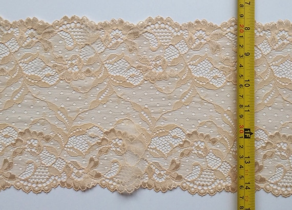 2M Ivory Stretch Lace Trim 16cm Trimming Lingerie Craft Sewing