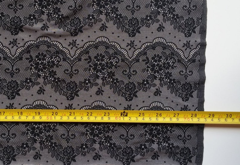 Gray Black Stretch Lace Fabric for lingerie Fabric per meter Fabric width 1.2 yd  1.1 m # F104