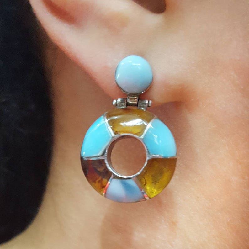 266d7b51c Larimar Amber Dangle Earrings Sterling Silver Blue Yellow | Etsy
