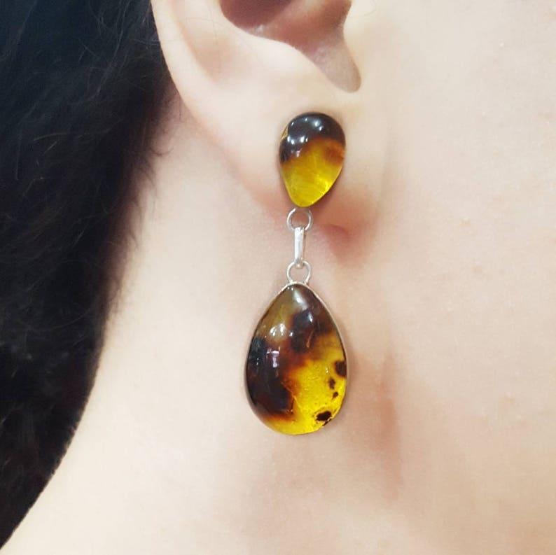 96621d55f Dominican Amber Teardrop Earrings Drop Earrings Yellow | Etsy