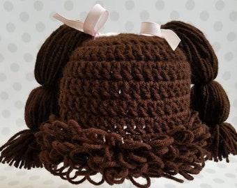 Cabbage Patch, Cabbage Patch doll, cabbage patch kid, cabbage patch hat, pig tail baby hat, Cabbage Patch Wig, Halloween Costume, baby girl