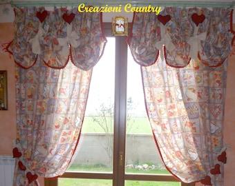 Tende Country Natalizie : Tenda a vetro tenda shabby chic tenda country tenda in etsy