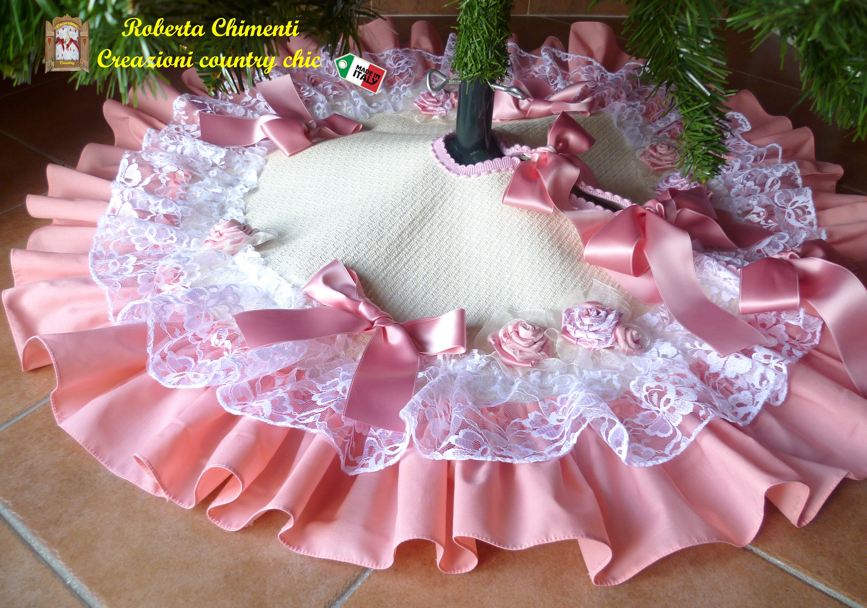 Pink Shabby Chic Tree Skirt With Combine Tree Topper Christmas Tree Skirt With White Lace Tree Skirt With Frills Pink Christmas Tree Base