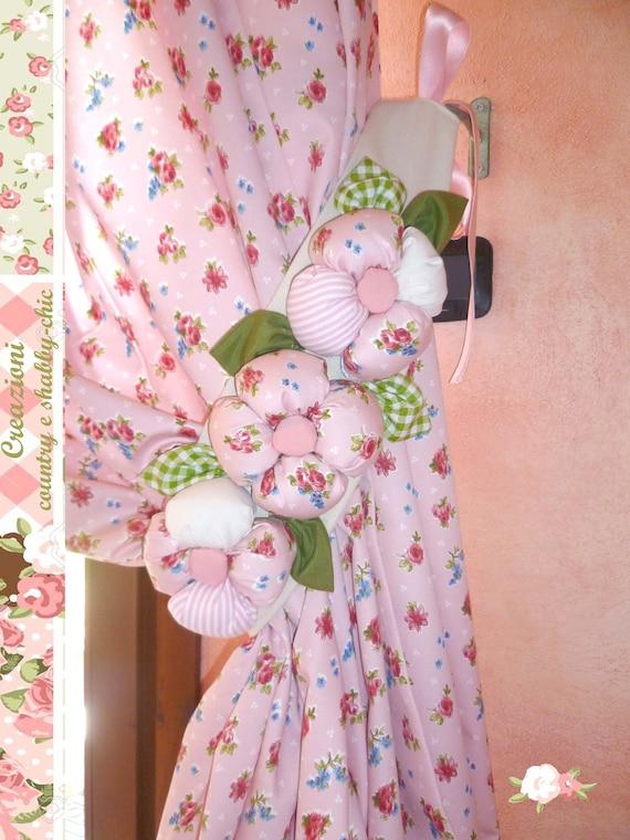 Fermatenda floreale DX, raccogli tende country-chic, ferma tende a fiori,  fermatende shabby-chic, decorazioni tende, decorazioni country