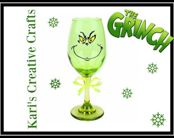 SALE: The Grinch Wine Glass,  How The Grinch Stole Christmas Themed Wine Glass, Christmas Wine Glass, Bah Humbug Wine Glass, The Grinch