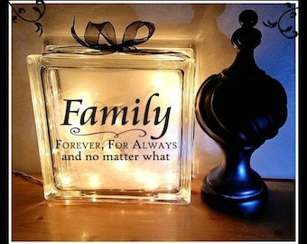 Family Glass Block, Night Light, 8 x 8, Personalized glass block, lighted block