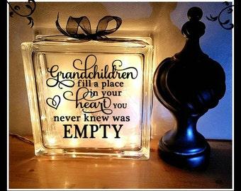 Grandchildren Lighted Block, Grandparent Gift, Grandchildren fill a place in your heart, Night light, Grandchildren, Glass Block