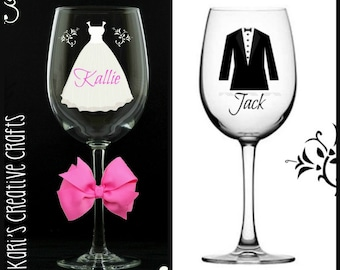 Bride And Groom Wedding Glass Set, Customized Wedding Glasses, Bridal Party, Marriage, Two Wine Glasses