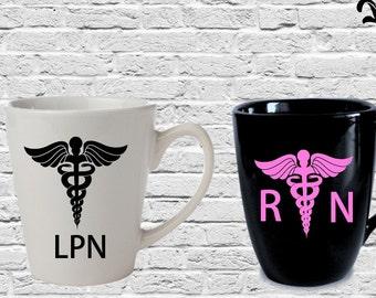 RN Coffee Mug, LPN Cup, Nurse Coffee Cup, Custom Coffee Cup, Personalized Mug
