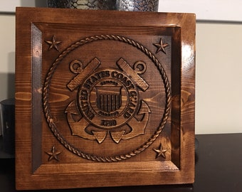 Large Wood Carved Coast Guard Plaque with option to Personalize it.