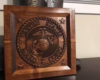 Large Wood Carved Marine Plaque with option to Personalize it.