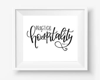 Romans 12:13 Digital Downloadable Hand Lettered Hospitality Print