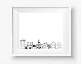 Waco Skyline Digital Downloadable Hand-Drawn Print