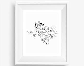 Texas Bucket List Digital Downloadable Hand-Lettered Print