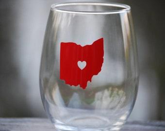 Ohio State wine glass