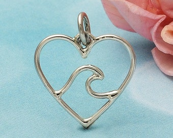 Sterling Silver, Heart with Wave, Heart Charm, Wave Charm, Ocean Charm, Open Heart, Open Wave, Silver Heart, Silver Wave, Heart Jewelry