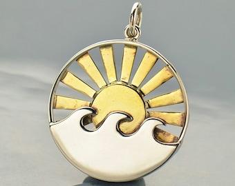 Sterling Silver, Wave Pendant, Bronze Sun, Bronze Rays, Sun Rays, Ocean Pendant, Wave Charm, Ocean Charm, Ocean Jewelry, Sun Charm