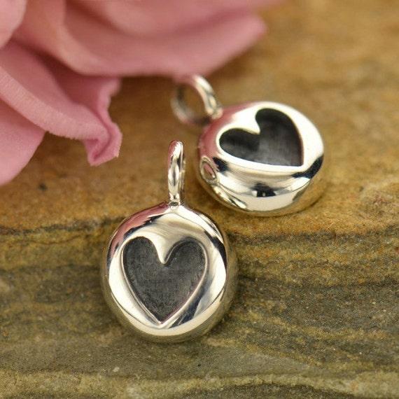 Heart Jewelry Heart Charm Silver Thai Cast Silver Heart Embossed Heart Sterling Silver Thai Cast Charm Love Jewelry Thai Cast