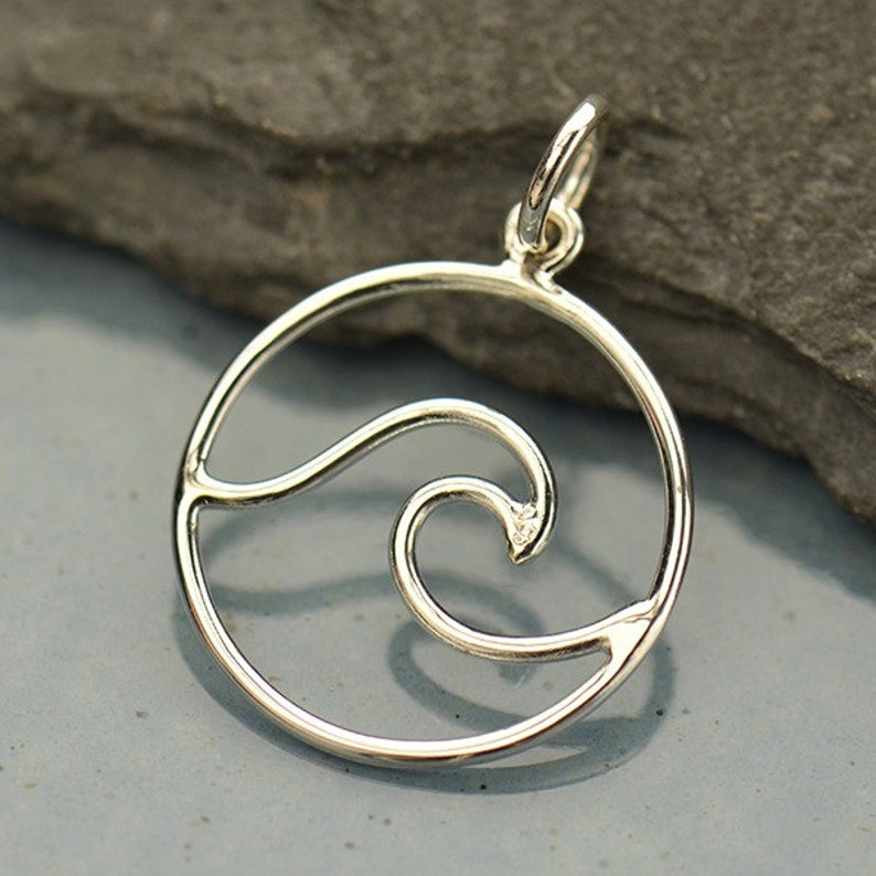 Sterling Silver Openwork Wave Pendant Gold Ocean Charm Beach Sterling Silver