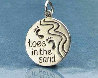 Sterling Silver, Beach Charm, Toes in the Sand, Message Charm, Beach Jewelry, Beach Lover, Footprint Charm, Footprint Jewelry, Ocean Charm