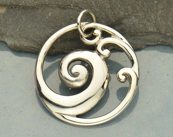 Sterling Silver, Openwork Wave, Wave Pendant, Ocean Pendant, Round Pendant, Oval Pendant, Round Wave Charm, Oval Wave Charm, Ocean Charm